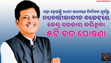 Top 5 Facts of Budget 2019 Highlights in Odia language