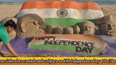 Manas Sahoo has created sand sculpture on 69th Independence Day at Puri Beach