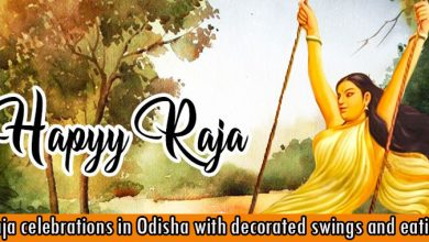 Raja celebrations in Odisha with decorated swings and eating pithas